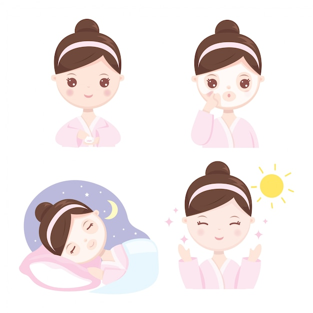 How to sleeping mask Premium Vector