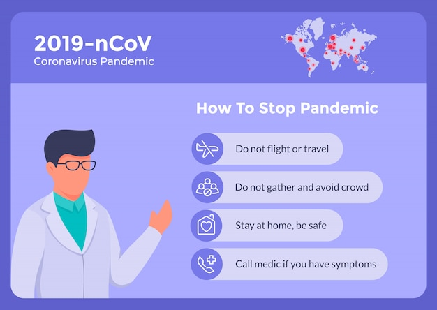 How to stop corona virus covid-19 with some instructional list for banner poster and doctor give advice Premium Vector