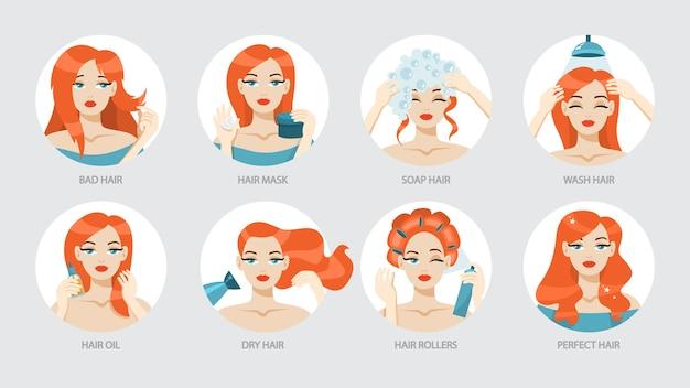 Как ухаживать за волосами инструкция. Premium векторы