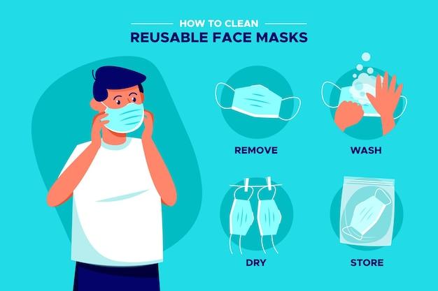 再利用可能なフェイスマスクをきれいにする方法 無料ベクター