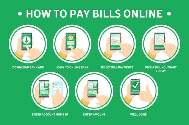Как оплачивать счета онлайн с помощью смартфона Premium векторы