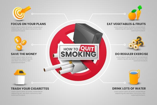 喫煙をやめる方法インフォグラフィックテンプレート 無料ベクター