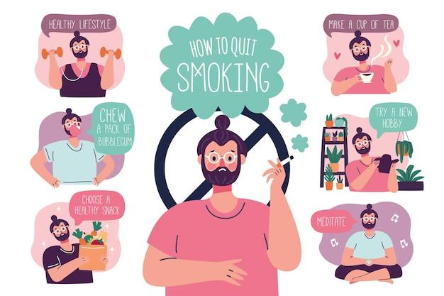 Как бросить курить - инфографика Бесплатные векторы
