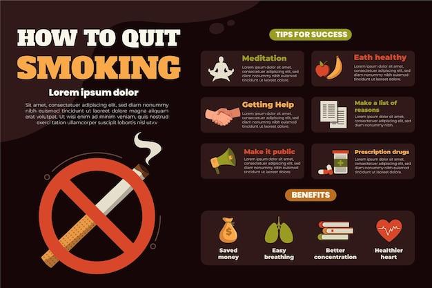インフォグラフィックの喫煙をやめる方法 無料ベクター