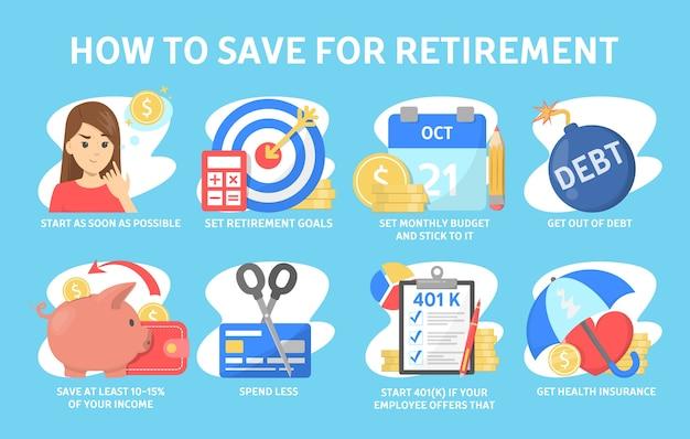 退職金を節約する方法、財務上のヒント Premiumベクター