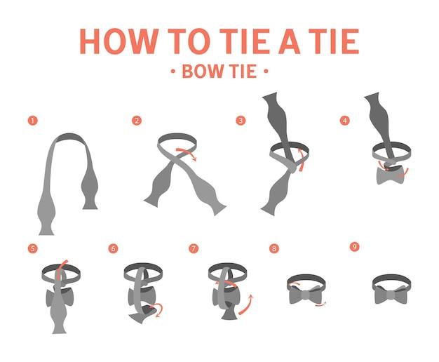 蝶ネクタイの手順を結ぶ方法。ネクタイを作るためのガイド。分離フラットベクトルイラスト Premiumベクター