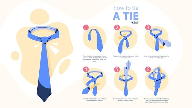 タイ命令を結び付ける方法。ネクタイの作り方 Premiumベクター