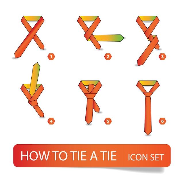 ネクタイの結び方、ステップバイステップの指示 Premiumベクター
