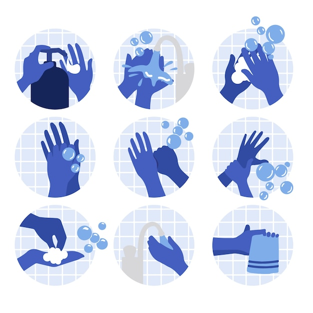 手を洗うイラスト Premiumベクター