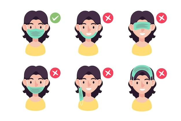 Как носить маску для лица Бесплатные векторы