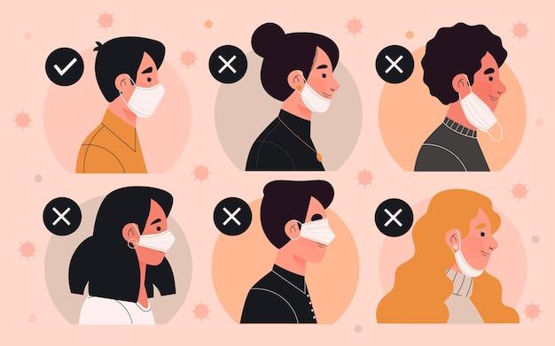 Как правильно и неправильно носить маску для лица Бесплатные векторы