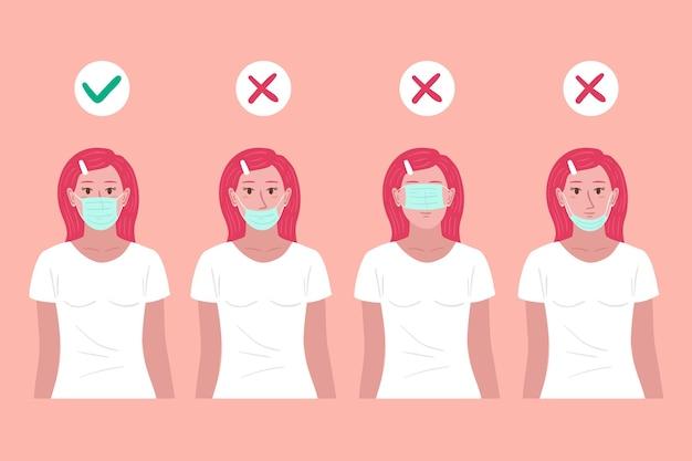 女性と一緒にフェイスマスクの正しいイラストと間違ったイラストを着る方法 無料ベクター