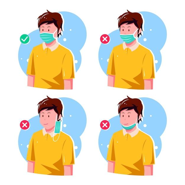 フェイスマスクの正しい着用方法と間違った方法 無料ベクター