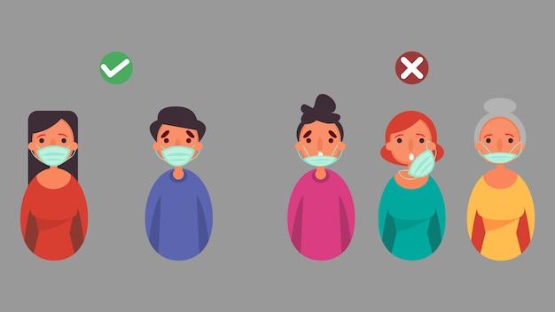Как носить маску для лица правильно и неправильно, расстояние уменьшить риск заражения и концептуальной кризисной ситуации, возникающей во всем мире из-за коронавируса коронавирус 2019-нков. Premium векторы