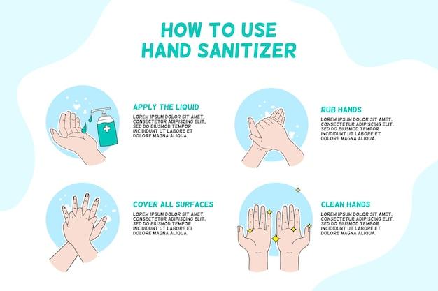 Come usare disinfettante per le mani infografica Vettore gratuito