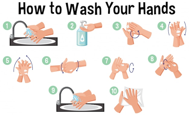 How to wash hands infographic Premium Vector