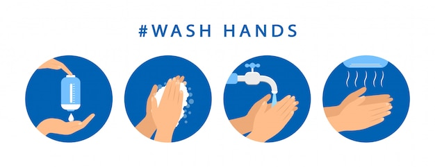 How to wash your hands. step instructions washing hand. preventive measures. flat design. Premium Vector