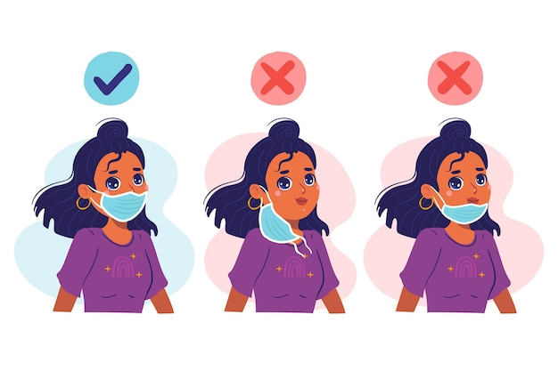 How to wear a face mask illustration Free Vector
