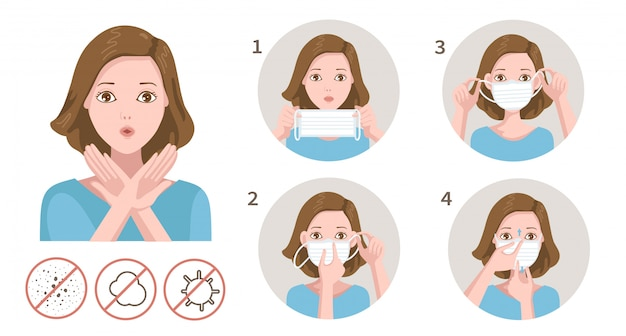How to wear a mask. woman gag with worry gesture. Premium Vector