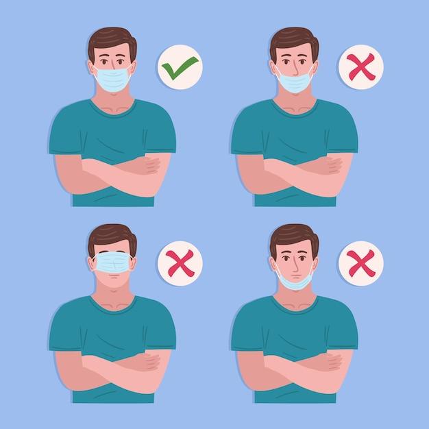Come indossare una maschera per il viso illustrazioni giuste e sbagliate con l'uomo Vettore gratuito