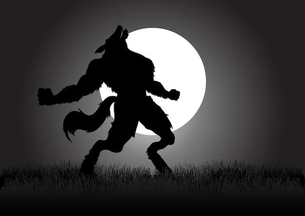 Howling werewolf Premiumベクター
