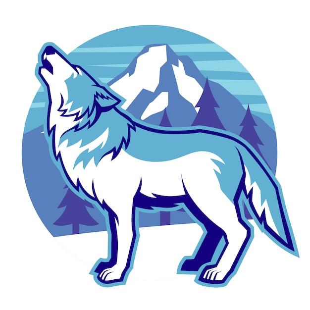 Howling wolf mascot Premium Vector
