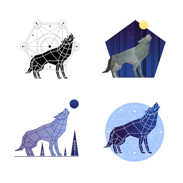 Howling wolf set Free Vector