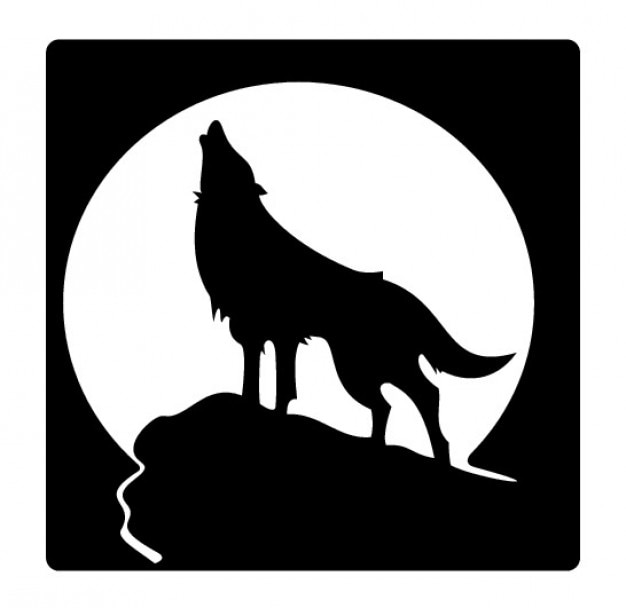 howling wolf silhouette and full moon vector | free download