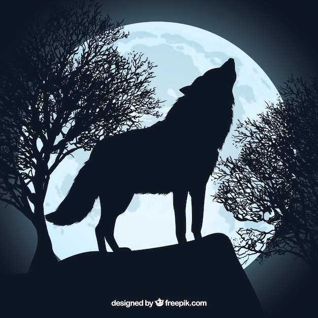Howling wolf silhouette and full moon Premium Vector