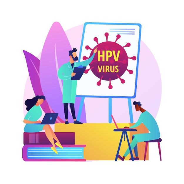 Illustrazione di concetto astratto di programmi di formazione hpv. programmi di sensibilizzazione sull'hpv, spiegazione del papillomavirus umano, educazione sanitaria, consultazione online, metafora astratta delle informazioni sui virus. Vettore gratuito