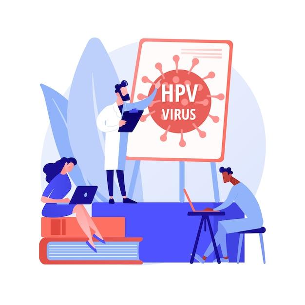 Illustrazione di vettore di concetto astratto di programmi di formazione hpv. programmi di sensibilizzazione sull'hpv, spiegazione del papillomavirus umano, educazione sanitaria, consultazione online, metafora astratta delle informazioni sui virus. Vettore gratuito