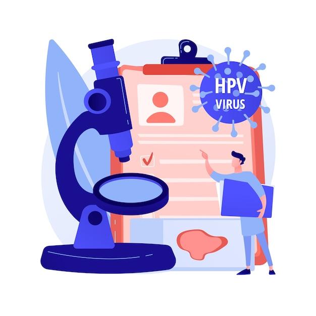Illustrazione di vettore di concetto astratto di prova hpv. kit per il test del papillomavirus umano, risultati, test per l'uomo, esame per le donne, prevenzione del cancro cervicale, metafora astratta della diagnostica precoce dell'hpv. Vettore gratuito