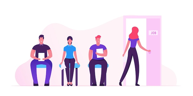 Hr concept. people waiting interview sitting in office hall on chairs. cartoon flat illustration Premium Vector