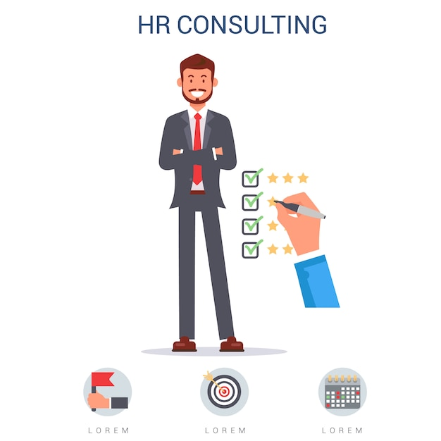 Hr consulting, hand ticking matching skills flat. Premium Vector
