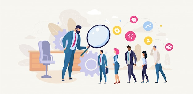 Hr manager analyzing job candidates banner Premium Vector