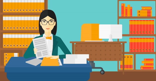 Hr manager checking files. Premium Vector