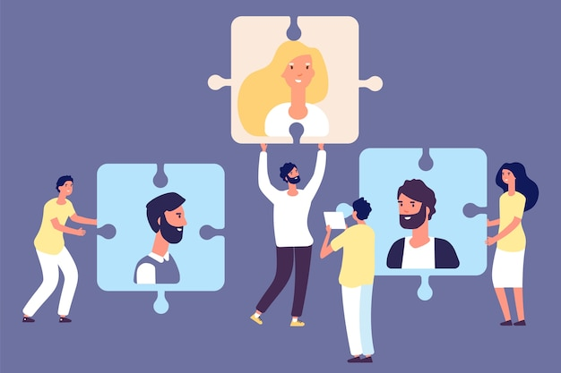 Hr manager and headhunters with puzzle Premium Vector