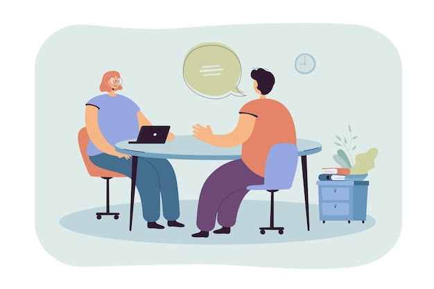 Hr manager talking with candidate at job interview flat illustration. cartoon employee or job seeker meeting with employer Free Vector