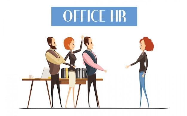 Молодая женщина во время общения с сотрудниками офиса hr дизайн Бесплатные векторы
