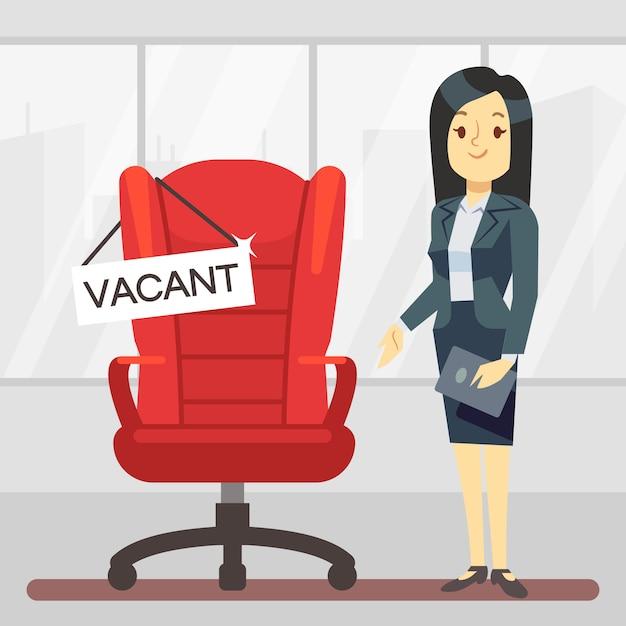 かわいい漫画のキャラクターhrマネージャーと空の上司の椅子 Premiumベクター