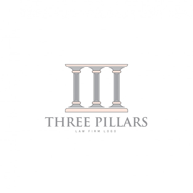 Hree pillars with greek roman pillar style logo design for lawfirm and justice company Premium Vector