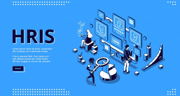 Hris isometric landing page. human resources tech Free Vector