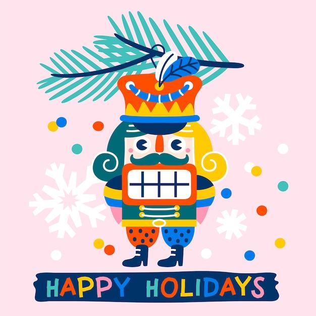 くるみ割り人形のモミの枝と紙吹雪ピンクの背景のヴィンテージのおもちゃで飾られたhristmasグリーティングカード Premiumベクター