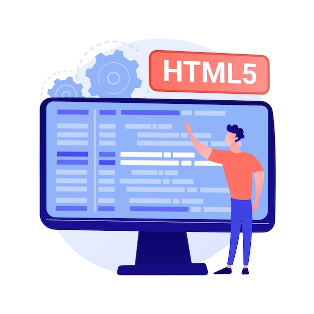 Html5 programming. internet website development, web application engineering, script writing. html code optimization, programmer fixing bugs concept illustration Free Vector