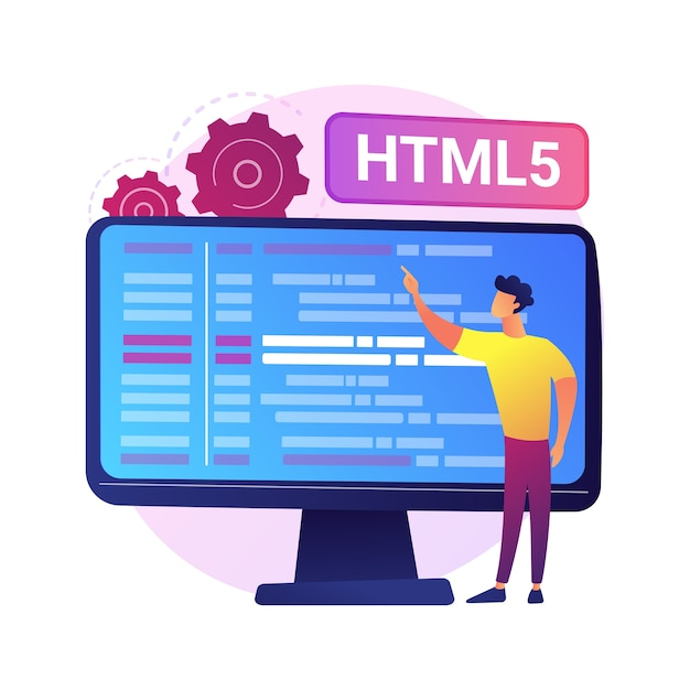 Html5 programming. internet website development, web application engineering, script writing. html code optimization, programmer fixing bugs. Free Vector