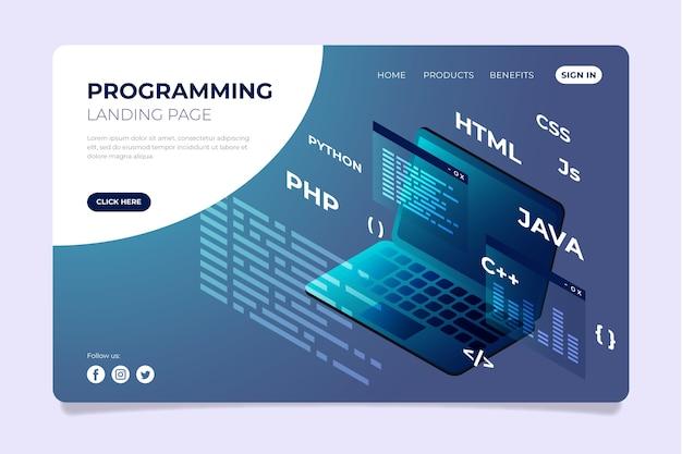 Программирование целевой страницы html-кода Бесплатные векторы