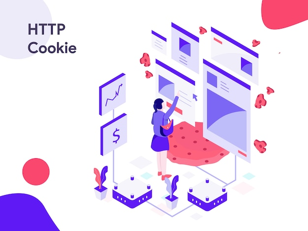 Http cookie isometric illustration Premium Vector