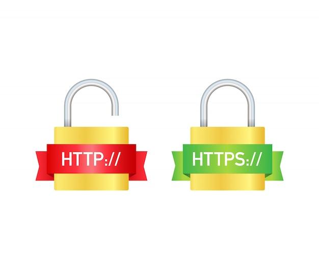 Протоколы http и https на экране. иллюстрация Premium векторы