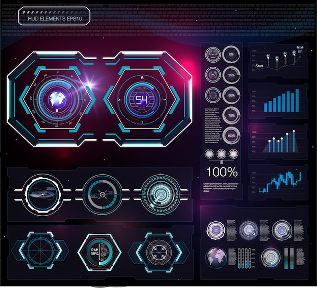 Hud background outer space. Premium Vector