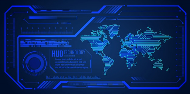 Hudブルーワールドサイバー回路未来技術の背景 Premiumベクター